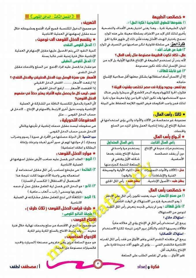 مراجعة الاقتصاد للصف الثالث الثانوي أ/ مصطفى لطفي 3