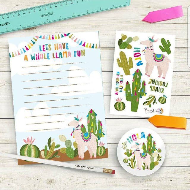 a pencil, mirror, temporary tattoo sheet, and notebook featuring graphic designs on cacti and llama wearing brightly coloured tassels