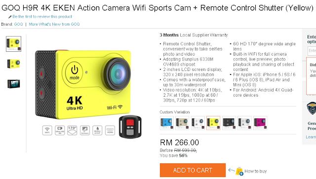 COQ H9R 4K Eken Action Camera