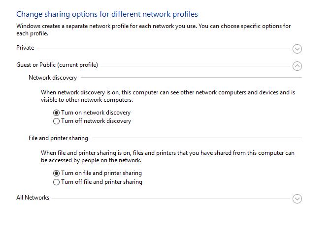 Setting Sharing Data LAN