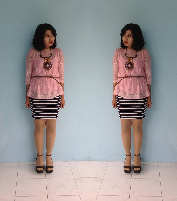 rizuna swon, forever 21, Rizuna Swon, stripes skirt, lace, pink, zara heels 100% nerd, Fashion blogger, fashion blogger Indonesia, Indonesia fashion blogger, denim and flower, zara clutch, zara transparent clutch, summer outfit
