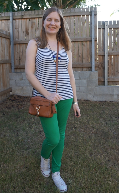 striped tank, green skinny jeans, converse chucks spring work from home school run mum outfit | awayfromtheblue
