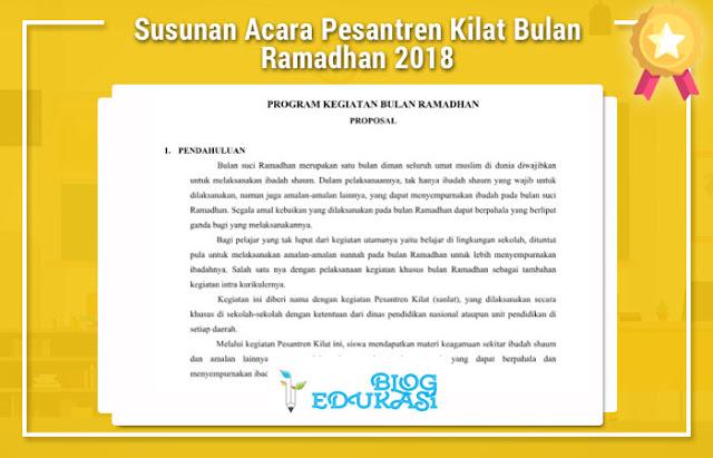 Susunan Acara Pesantren Kilat Bulan Ramadhan 2018