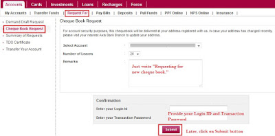 Order Cheque Book AXIS Bank