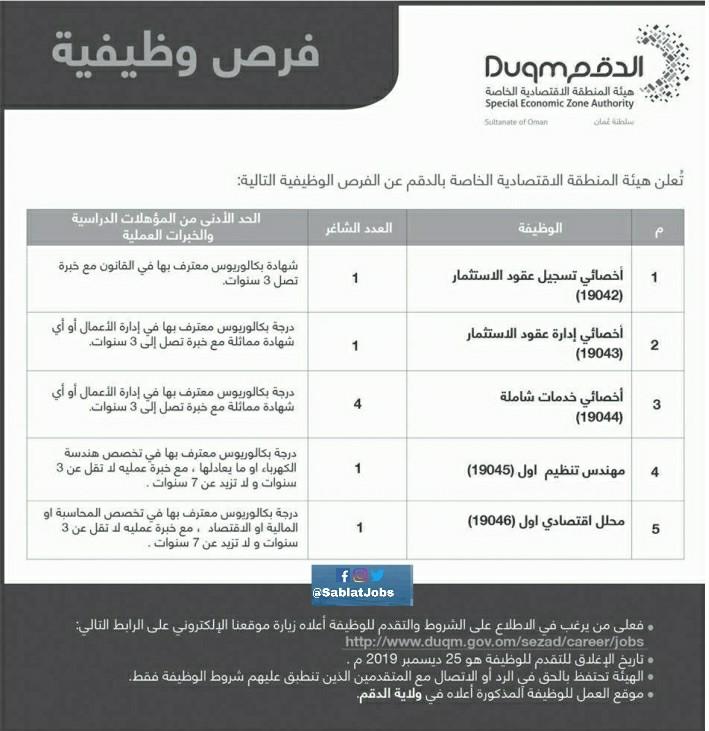أعلنت هيئة المنطقة الاقتصادية الخاصة بالدقم عن توفر 8 فرص وظيفية.