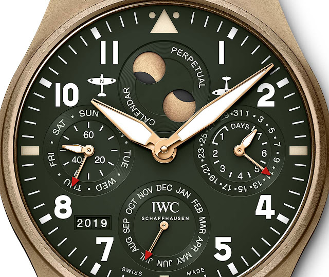 The  dial  of the IWC Big Pilot's Watch Perpetual Calendar Spitfire IW503601