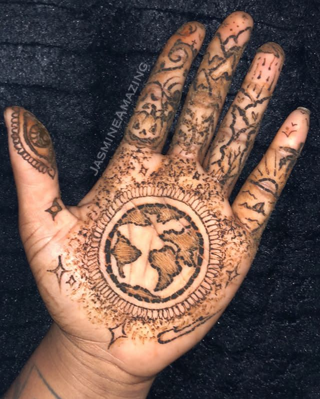 earth tattoo designs for hands