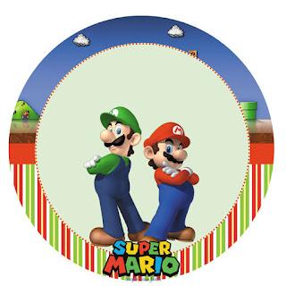 Toppers o Etiquetas de Fiesta de Super Mario Bros para Imprimir Gratis.
