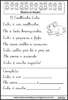 Pequenos textos para alfabetização com coelho