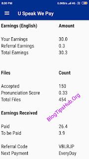 U Speak We Pay App earning proof english language