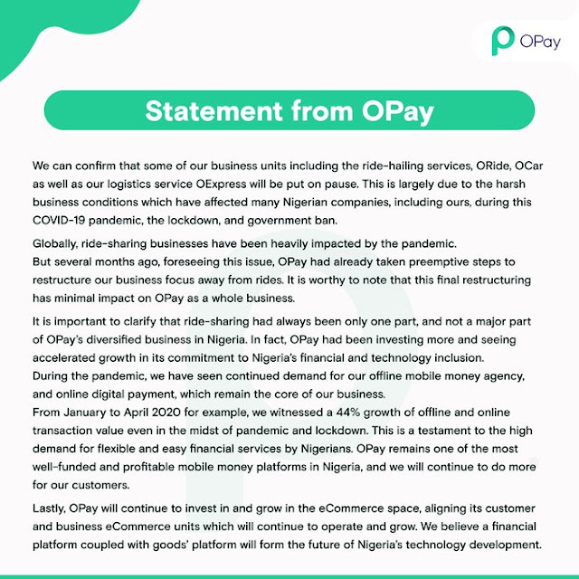 OPay shuts down some Nigeria operations due to harsh business environment