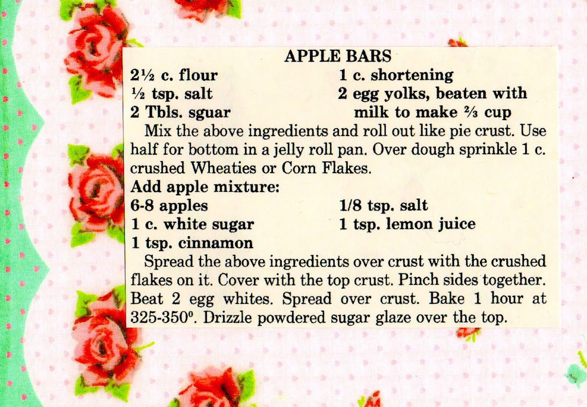 Apple Bars (quick recipe)