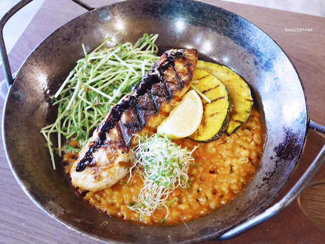Char-Grilled Salmon with Barley Risotto and Roasted Pumpkin