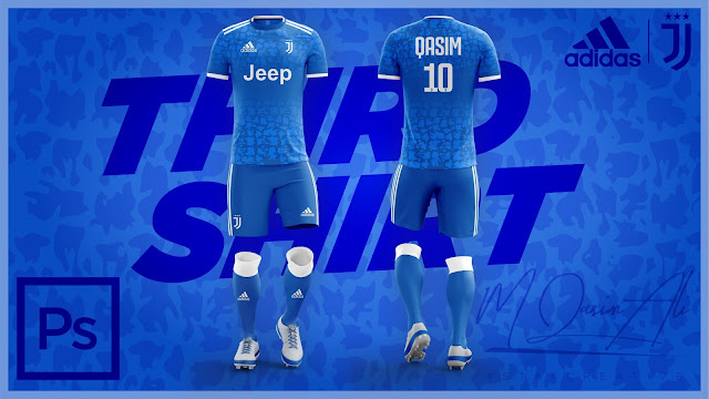 Adidas's Juventus 2019-20 Third Jersey Design in Photoshop cc 2019 by M Qasim Ali