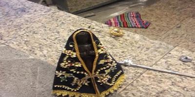 imagem de Nossa Senhora vandalizada em paróquia de Contagem