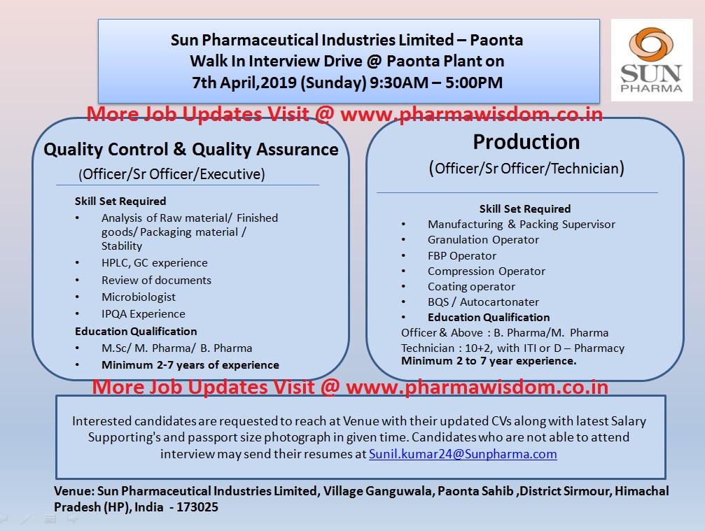 SUN PHARMA LTD - Walk-In Interviews for Multiple Position - QC / QA