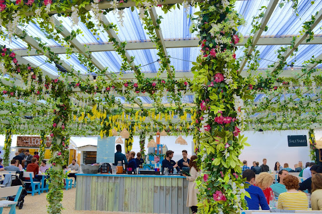 Flower canopies at Pergola on the Roof, Television Centre