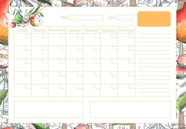 Calendario mensual frutal 2020 gratis