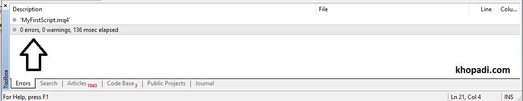 No Errors in Compilation of MQL SCRIPT in MetaEditor.jpg