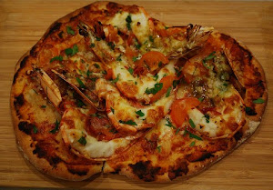 Tangy and Spicy Tiger Prawn Pizza