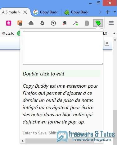 Copy Buddy : un outil de prise de notes intégré à Firefox