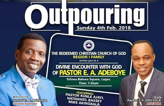 outpouring 2018 pastor adeboye lagos