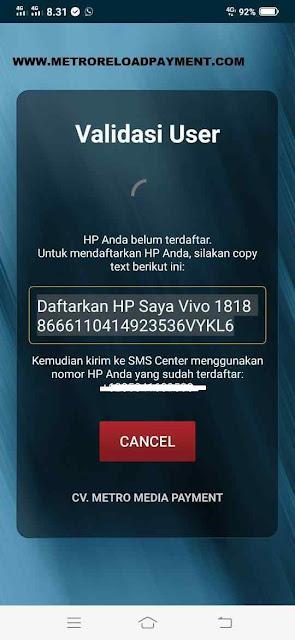 Validasi User MR Mobile Topup Aplikasi Metro Reload Pulsa