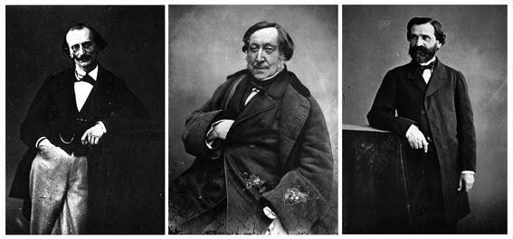 Jacques Offenbach.  Gioachino Rossini.  Giuseppe Verdi. por Nadar