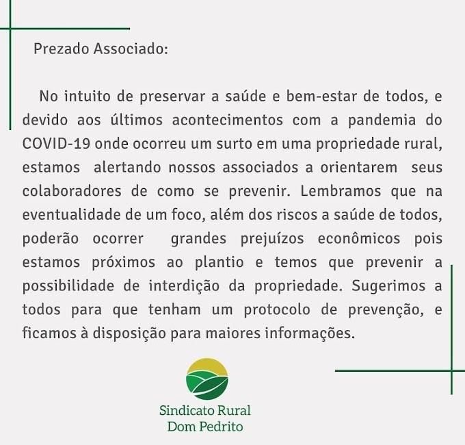 Após casos de Covid em propriedade rural, Sindicato alerta associados