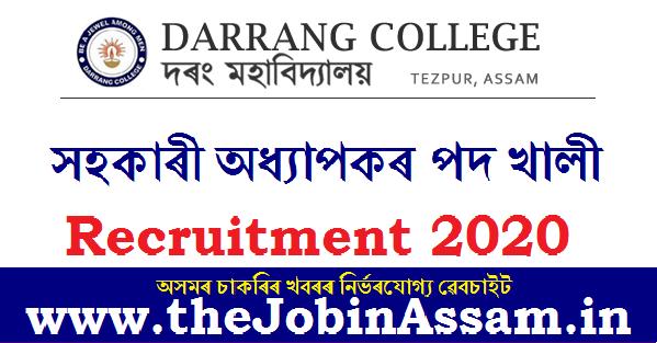 Darrang College Recruitment 2020: Apply For 3 Assistant Professor Posts