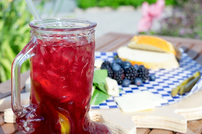 Krause Farms Sangria and food