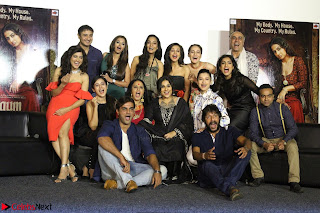 Vidya Balan with Ila Arun Gauhar Khan and other girls and star cast at Trailer launch of move Begum Jaan 020.JPG