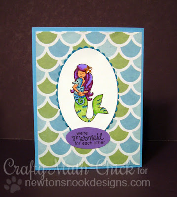 Mermaid for Each Other card by Crafty Math Chick | Mermaid Crossing by Newton's Nook Designs