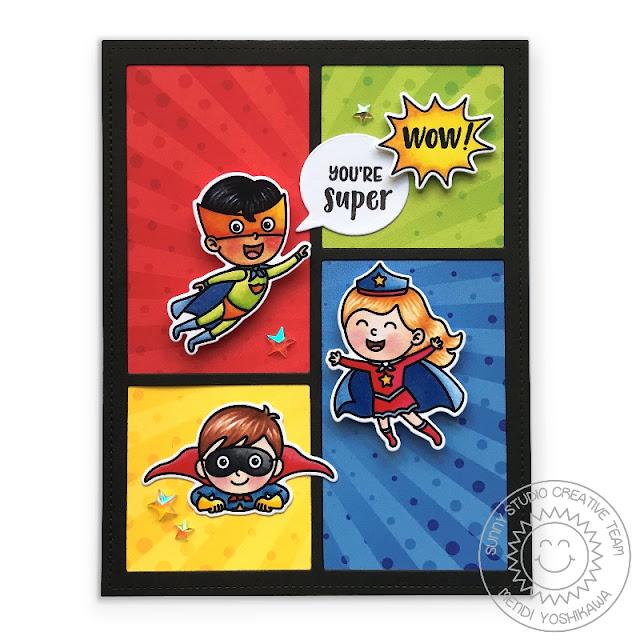 "Sunny Studio Stamps Super Duper ""You're Super"" Superhero Card (featuring Comic Strip Speech Bubble Dies & Heroic Halftones 6x6 Paper)"