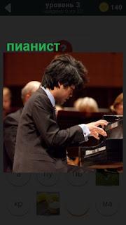 пианист сидя на стуле играет на музыкальном инструменте