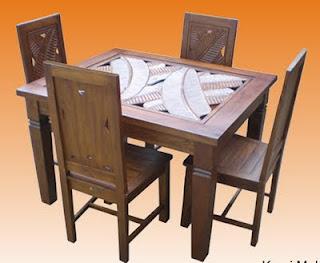 meja makan minimalis ukir daun pisangmurah jepara
