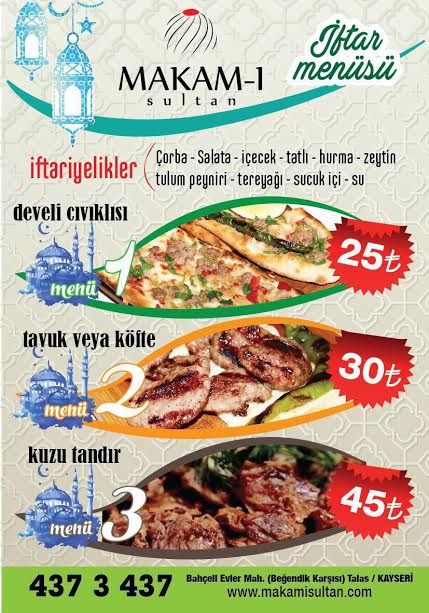 makam-ı sultan kayseri iftar menu