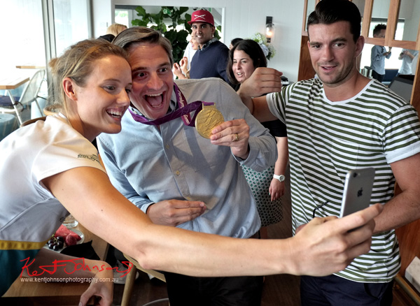 Selfie time - 'The Gourmet Pommies' Will wears Ellie Cole's 2012 Olympic Gold Medal as Steve tries to get in on the act. Sperry Odyssey Australia launch @ Regatta with Swimming Australia.