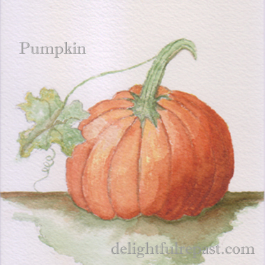 Pumpkin Spice Muffins - makes 18 and uses whole can of pumpkin (this image a watercolor sketch of a pumpkin) / www.delightfulrepast.com