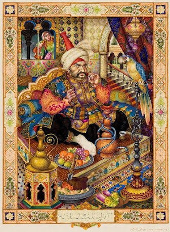 """""""The Husband and the Parrot"""" by Arthur Szyk"""