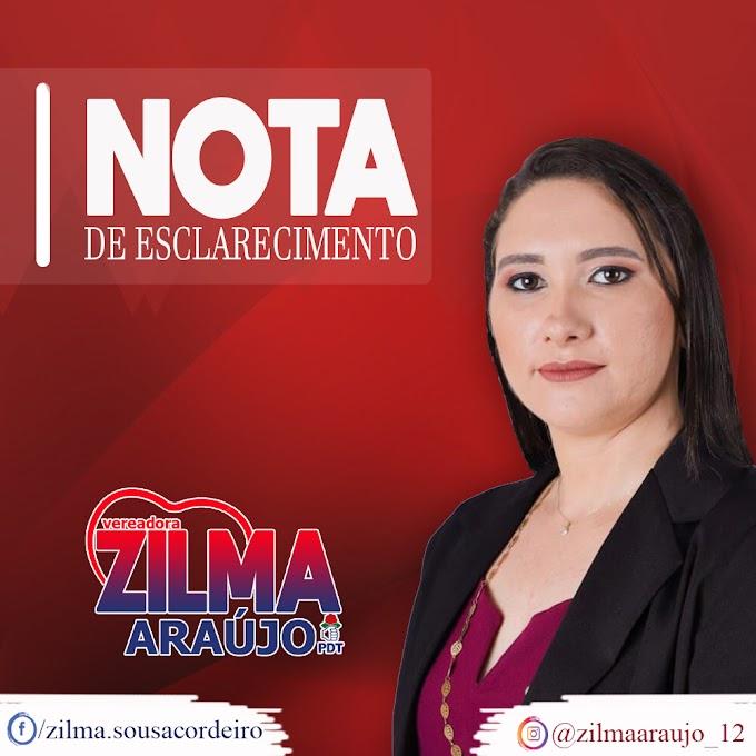 Vereadora Zilma Araújo publica nota de esclarecimento. Confira!