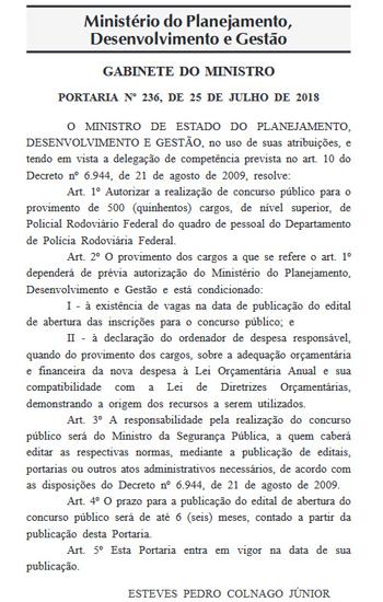 Autorização do concurso da PRF, no Diário Oficial da União desta sexta-feira (27/7)