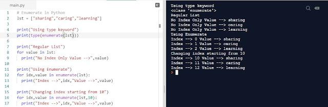 Python Programming Enumerate