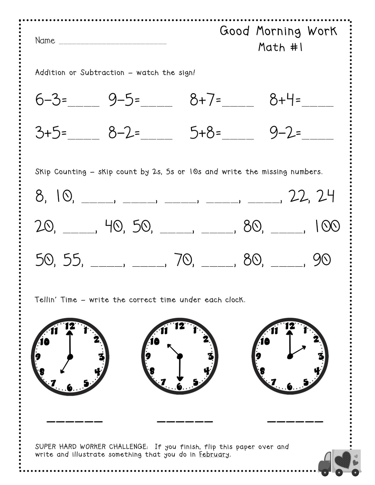 Free Morning Math Worksheets