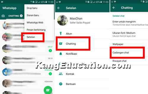 melakukan backup chating whatsapp