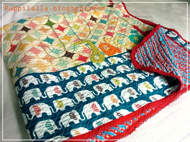 Faux Chenille Baby Quilt Blanket Cotton Flannel Puppilalla Finished Project