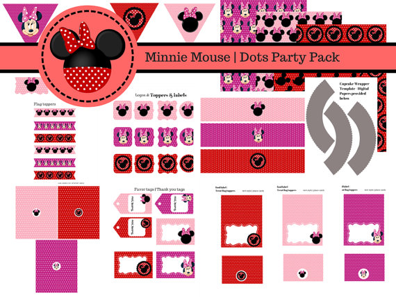 3 Free Printable Kits for  Minnie Birthday Party.