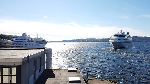 Luxury cruise ship Seabourn Quest in Bergen, Norway; Fjords cruise; Ships in Bergen