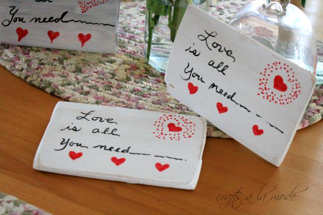 Wooden Valentine postcards to make.