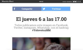 Pagina de campaña de Mauricio Macri